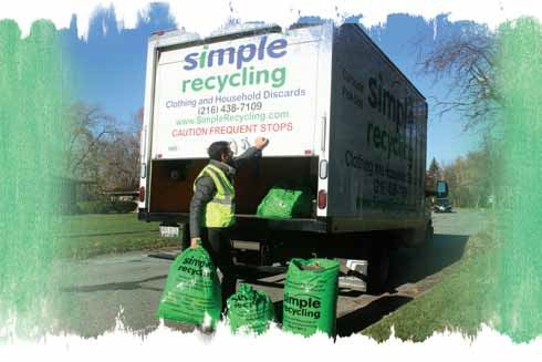 A Simply Recycling worker loading bags into a truck